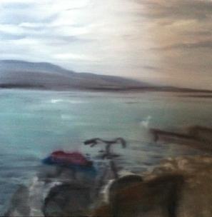 Pause au bord du Léman - Huile sur toile, 80 x 80 cm, 2011